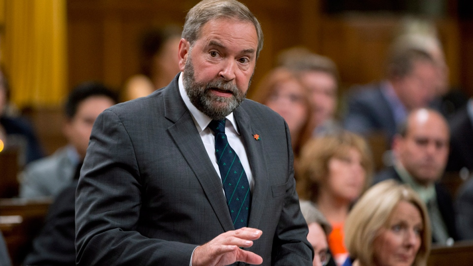 NDP leader Tom Mulcair rises during question period in the House of Commons, in Ottawa, Tuesday, Sept. 30, 2014. (Adrian Wyld / THE CANADIAN PRESS)