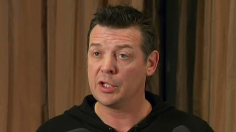 Former NHL hockey star Theo Fleury speaks to the media in Vancouver, Wednesday, Feb. 22, 2012.
