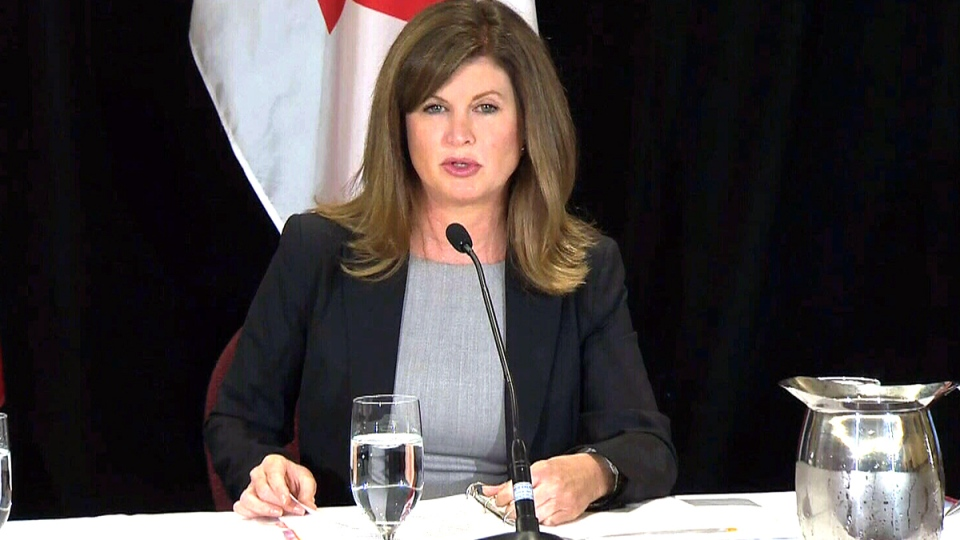 Federal Health Minister Rona Ambrose speaks at a news conference on Ebola in Banff, Alta., Wednesday, Oct. 1, 2014.