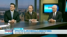 Parliamentary Secretary to the Minister of Transport Pierre Poilievre, NDP MP Pat Martin and Liberal MP John McCallum appear on CTV's Power Play on Thursday, Feb. 23, 2012.