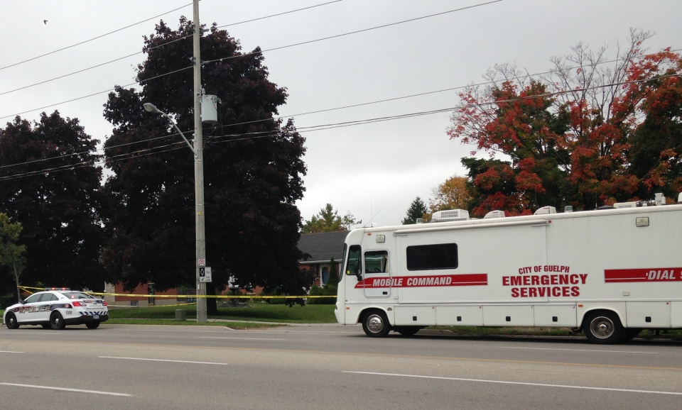 A police command post remained outside 1541 Gordon Street in Guelph on Wednesday, Oct. 1, 2014. (Nicole Lampa / CTV Kitchener)