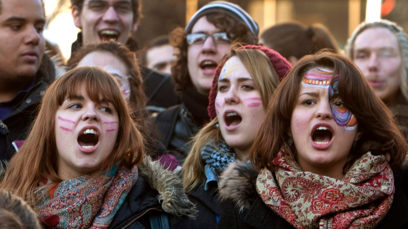 Students take part in a demonstration against higher tuition fees Monday, February 20, 2012 in Montreal.THE CANADIAN PRESS/Ryan Remiorz