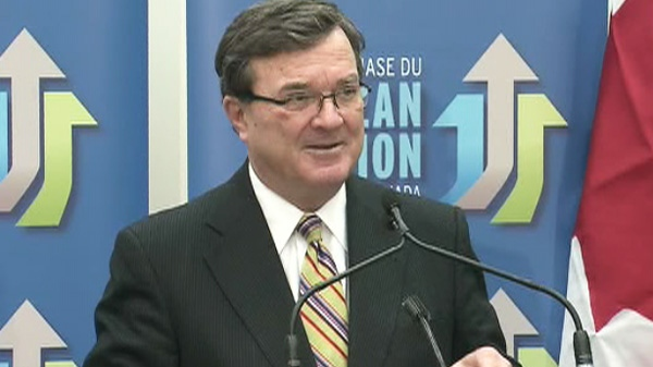 Finance Minister Jim Flaherty speaks about the Family Caregiver Tax Credit in Toronto on Thursday, Feb. 23, 2012.