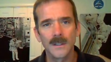 Canadian astronaut Chris Hadfield appears on Canada AM via Skype from Star City, Russia, Thursday, Feb. 23, 2012.