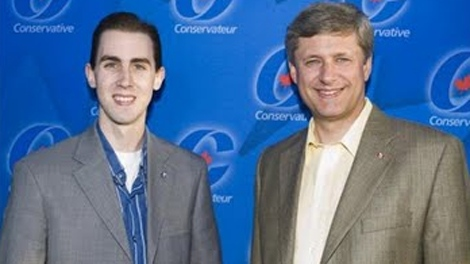 Conservative staffer Michael Sona with Prime Minister Stephen Harper are seen in this undated photo.