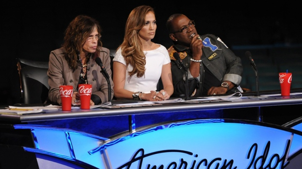 Steven Tyler, Jennifer Lopez and Randy Jackson listen to contestants on the singing competition series 'American Idol'