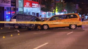 Two people were killed when a minivan struck several parked cars on Main Street in Vancouver Thursday evening.