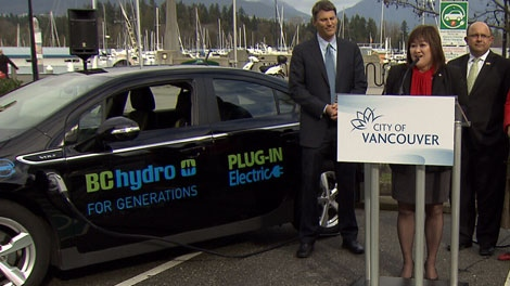 Vancouver South MP Wai Young speaks at a press conference announcing electric car charger installation across the city. Feb. 24, 2012. (CTV)