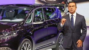 Renault Nissan chairman Carlos Ghosn addresses members of the media at the Paris Motor Show, in Paris, Thursday Oct. 2, 2014. (AP / Remy de la Mauviniere)