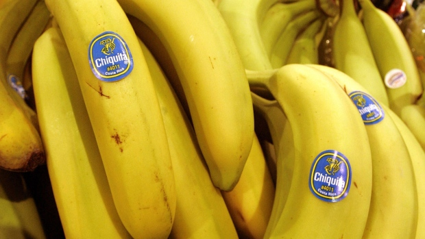 Chiquita bananas on display at a grocery store