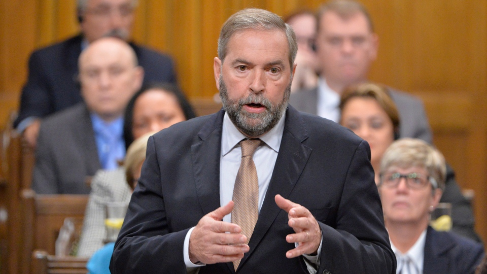 NDP Leader Tom Mulcair speaks in the House of Commons on Friday, Oct. 3, 2014. (Adrian Wyld / THE CANADIAN PRESS)