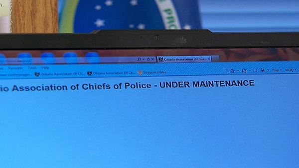 The Ontario Association of Chiefs of Police website is shown after being shut down on Saturday, Feb. 25, 2012.