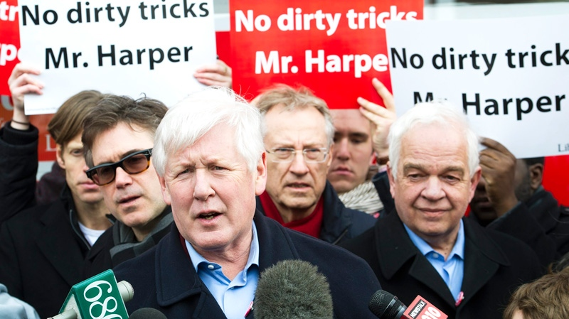 Interim Liberal leader Bob Rae speaks to the media during a press conference over so-called robocalls that have attracted the attention of Elections Canada in last year's federal election in Toronto on Saturday, Feb. 25, 2012. (Nathan Denette / THE CANADIAN PRESS)