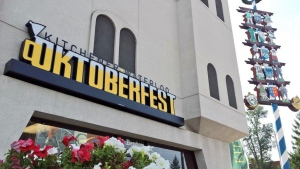 The Oktoberfest maypole stands outside the festival's office in Kitchener on Friday, Oct. 3, 2014. (Dan Lauckner / CTV Kitchener)
