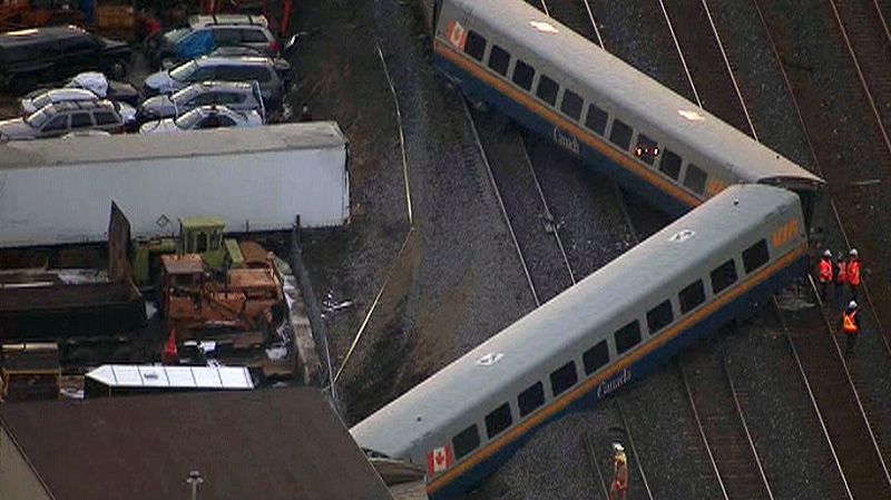A VIA Rail train derailment is shown in this aerial view on Sunday, Feb. 26, 2012.