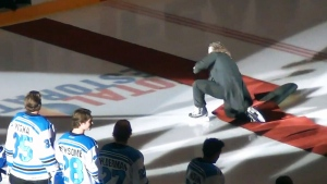 Mark Donnelly tripped on his skates while singing the national anthem in Penticton, B.C. on Friday, Oct. 3, 2014
