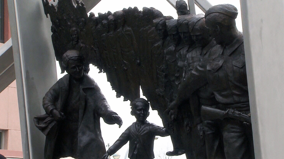 Nearly 75 years after he was immortalized in the most famous Canadian photograph of the Second World War era, Warren Bernard has been immortalized in bronze in New Westminster, B.C.
