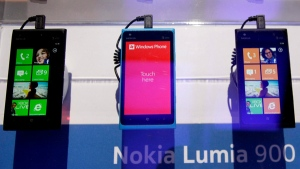 This image shows the Nokia Lumia 900 Windows based smartphones at the 2012 International CES trade show, in Las Vegas, Jan. 11, 2012. (AP / Julie Jacobson)