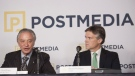 Postmedia President and CEO Paul Godfrey, left, and Chair of Postmedia Board of Directors Rod Phillips attend a press conference in Toronto, Monday, Oct. 6, 2014. (Hannah Yoon / THE CANADIAN PRESS)