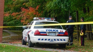 Police tape blocks off the scene of a shooting at the School of Experiential Education in Toronto, Monday, Oct. 6, 2014. (John Hanley / CTV Toronto)