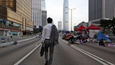 Number of protesters in Hong Kong dwindles