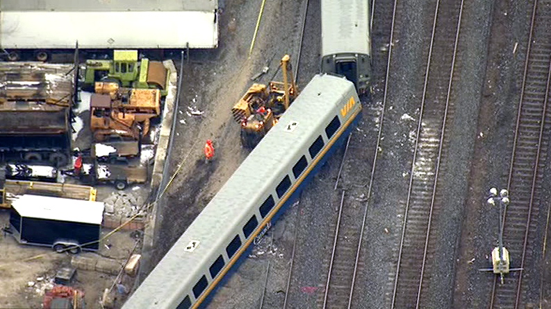 derailment, via rail, train derails, Burlington trail, VIA Rail train