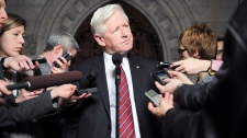 Liberal interim leader Bob Rae speaks to reporters in the foyer of the House of Commons on Parliament Hill in Ottawa on Monday, Feb. 27, 2012. (Sean Kilpatrick / THE CANADIAN PRESS)