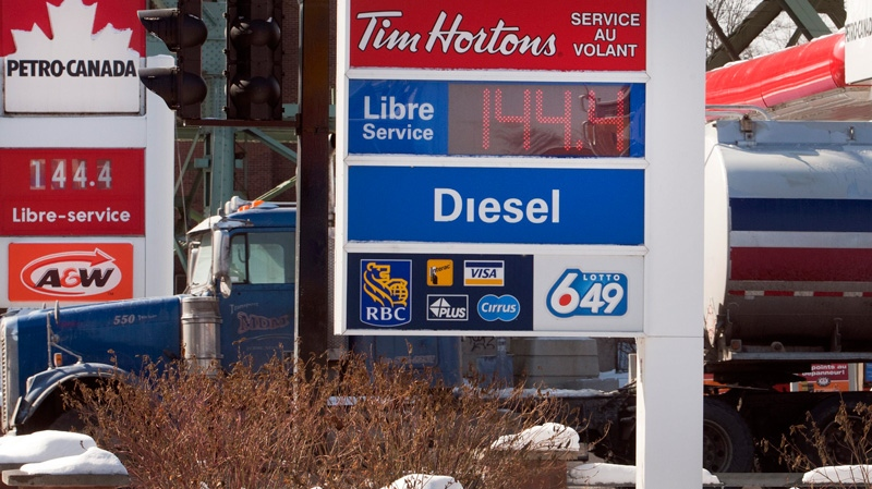 Gas prices, seen here at downtown stations, have shot up by 16 cents, to about $1.44 per litre on Tuesday, Feb. 28, 2012 in Montreal. (Ryan Remiorz / THE CANADIAN PRESS)