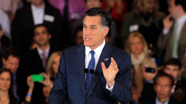 Republican presidential candidate, former Massachusetts Gov. Mitt Romney, addresses supporters at his election night party in Novi, Mich., Tuesday, Feb. 28, 2012. (AP / Carlos Osorio)