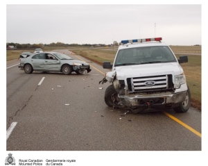 A stolen car and an RCMP vehicle were damaged during a police pursuit Monday east of Swift Current. (RCMP handout)