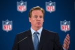 NFL commissioner Roger Goodell speaks during a news conference following a meeting of NFL owners and executives in New York. Oct. 8, 2014. The meetings were held to help the NFL develop and carry out a domestic violence educational program. (AP / John Minchillo)