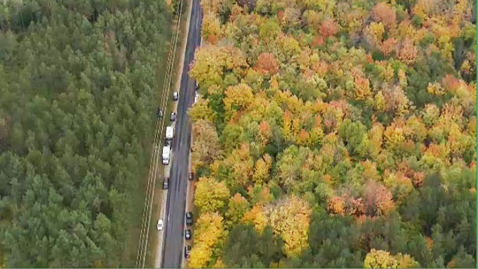 Police vehicles line Horseshoe Valley Road in Springwater Township, Ont. on Thursday, Oct. 9, 2014.
