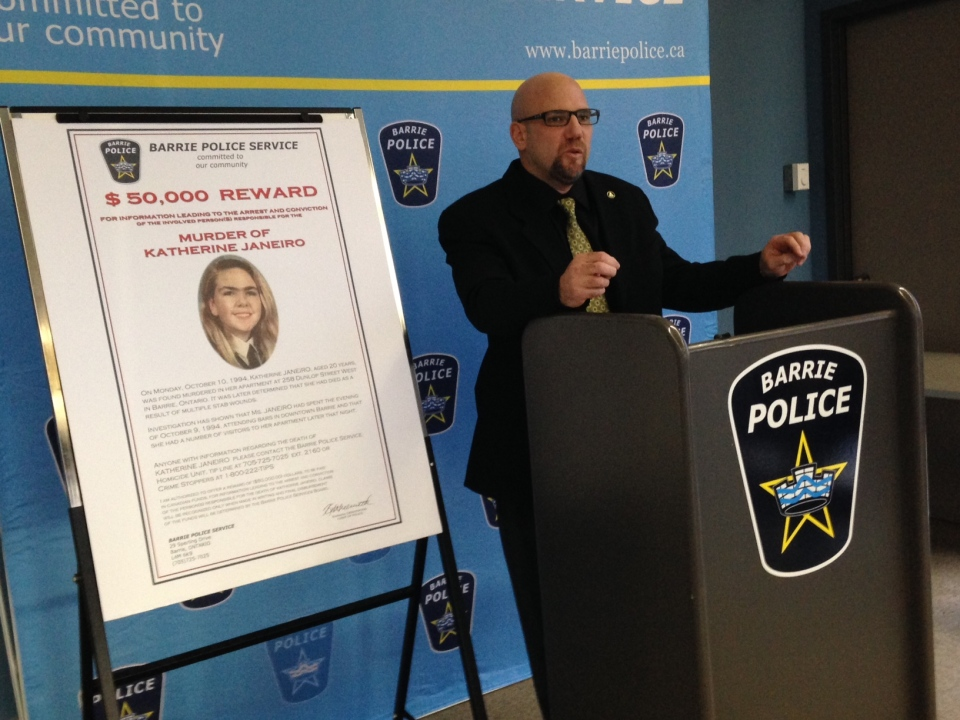 Barrie Police say they have two male suspects in the 1994 murder of Katherine Janeiro.