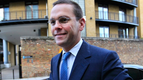 James Murdoch arrives at News International headquarters in London, Tuesday, July 19, 2011. Murdoch is stepping down as executive chairman of News Corp. (AP / Sang Tan)