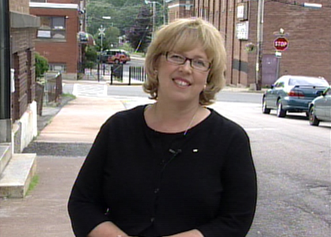Green Party Leader Elizabeth May reacts to being included in the debates during an interview on Mike Duffy Live from the riding she is running in, Central Nova in Nova Scotia, Wednesday, Sept. 10, 2008.