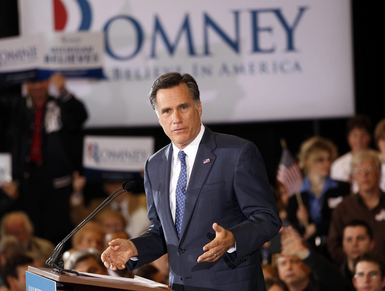 Republican U.S. presidential candidate, former Massachusetts Gov. Mitt Romney, speaks to supporters at his election watch party after winning the Michigan primary in Novi, Mich., Tuesday, Feb. 28, 2012. (AP / Gerald Herbert)