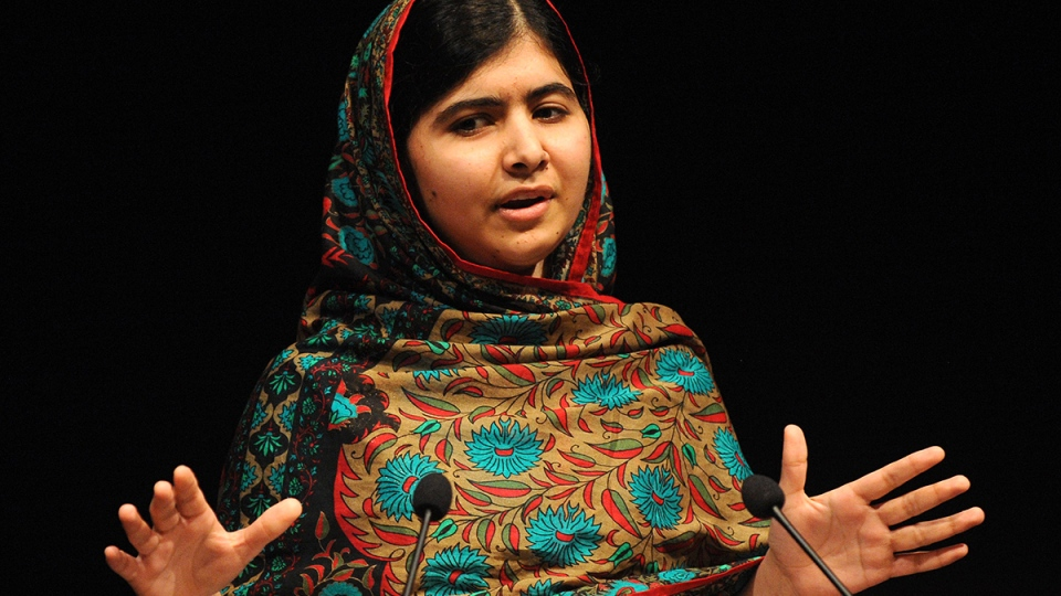 Malala Yousafzai speaks during a media conference at the Library of Birmingham after she was named as winner of The Nobel Peace Prize, in Birmingham, England, Friday, Oct. 10, 2014. (AP / Rui Vieira)
