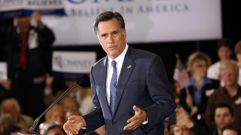 Republican presidential candidate, former Massachusetts Gov. Mitt Romney, speaks to supporters at his election watch party after winning the Michigan primary in Novi, Mich., Tuesday, Feb. 28, 2012. (AP / Gerald Herbert)