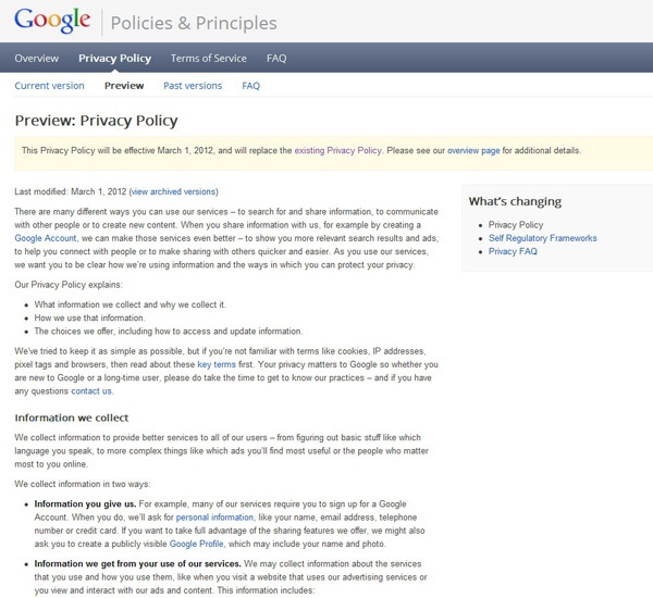 Google's new privacy policy, as seen on their web site on Thursday. (Google)