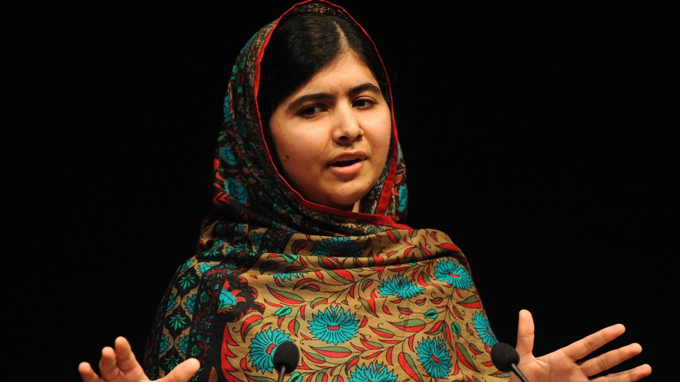Malala Yousafzai speaks during a media conference at the Library of Birmingham, in Birmingham, England, Friday, Oct. 10, 2014, after she was named as winner of The Nobel Peace Prize. (AP / Rui Vieira)