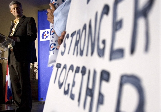 Conservative Party Leader Stephen Harper delivers his speech to supporters at a campaign rally at a local vineyard in St.-Eustache, Que., Thursday, Sept 11, 2008. (Tom Hanson / THE CANADIAN PRESS)