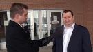 Brad Hache speaks to CTV's Colin Thomas outside of Saskatoon Provincial Court