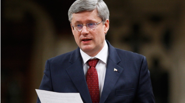 Prime Minister Stephen Harper rises in the House of Commons on Parliament Hill in Ottawa, Thursday, March 1, 2012. (Adrian Wyld / THE CANADIAN PRESS)