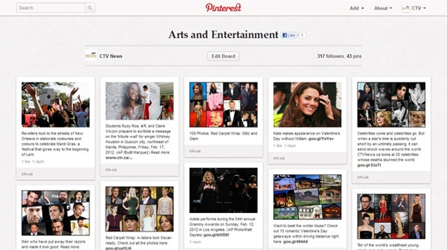 The CTV News' Pinterest account is seen in this image.