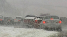 Commuters across southern Ontario were facing dangerous conditions as snow and freezing rain fell on Thursday, Mar. 1, 2012.