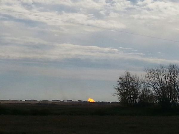 A fire from an explosion at the TransGas pumping station near Prud'homme is seen in this viewer-submitted photo. (Phil Hounjet)