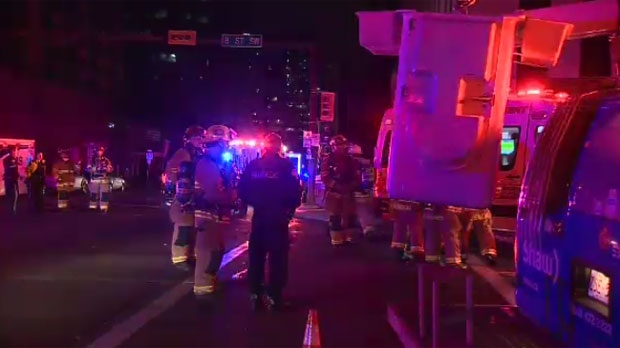 Emergency crews in downtown Calgary for underground electrical fire.