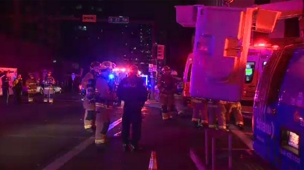 Emergency crews in downtown Calgary
