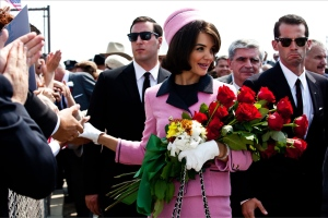 "In this publicity image, Katie Holmes portrays Jacqueline Kennedy in a scene from the eight-part movie, ""The Kennedys,"" on cable's ReelzChannel network. (AP Photo/ReelzChannel)"