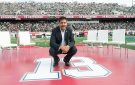 Former Montreal Alouettes quarterback Anthony Calvillo poses for a photo in Montreal on Monday, Oct. 13, 2014, following a halftime ceremony to retire his jersey at a CFL game between the Alouettes and the Saskatchewan Roughriders. (The Canadian Press/Graham Hughes)